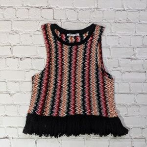 Zara Multicolored Crochet Cropped Sleeveless Top